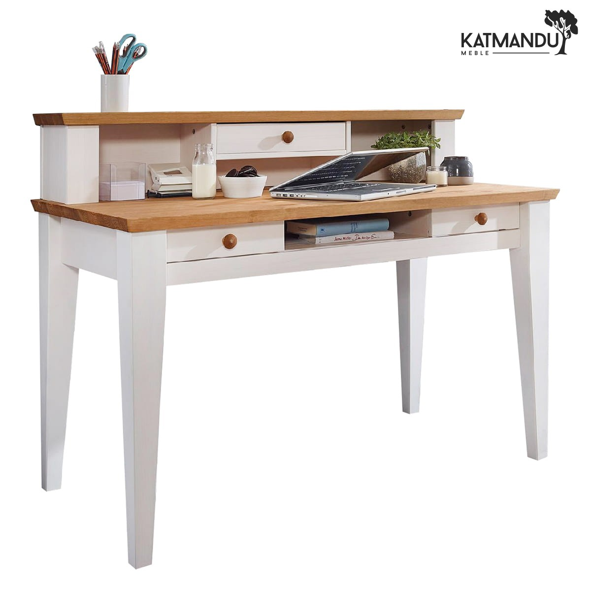 Białe biurko sosnowe do pokoju Marone