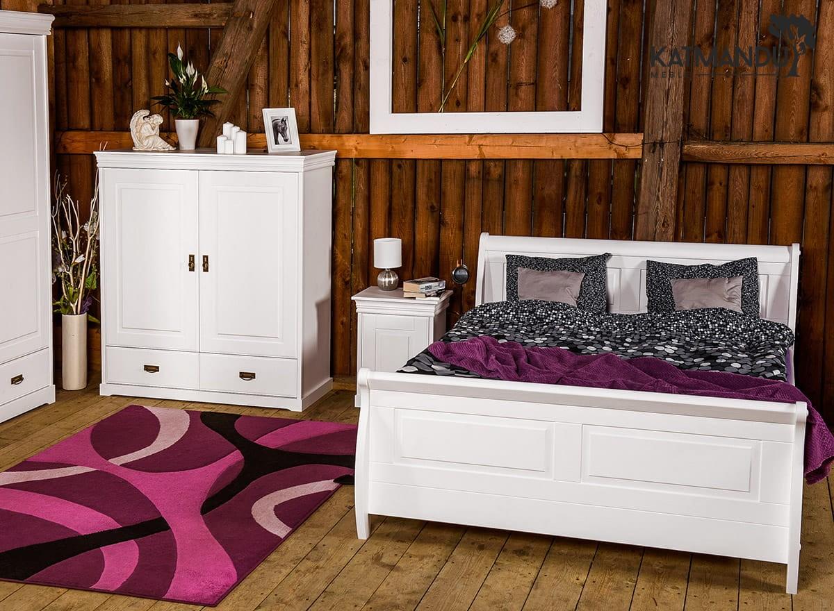Białe Sosnowe łóżko Z Drewna Toskania